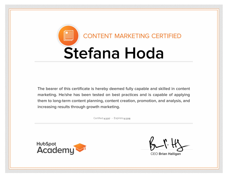 Content Marketing Certification from HubSpot
